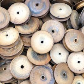 petite roue de métier à tisser jacquard bois atelier tissage soie filature ancien vintage mercerie 1930