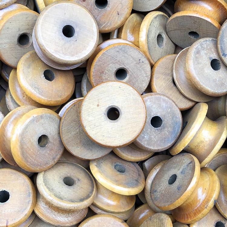 petite roue de métier à tisser jacquard bois atelier tissage soie filature ancien vintage mercerie 1950