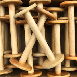 grande bobine en bois atelier tissage soie filature ancien vintage mercerie 1950 28cm