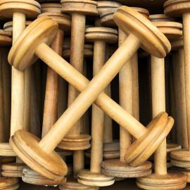grande bobine en bois atelier tissage soie filature ancien vintage mercerie 1930 30cm