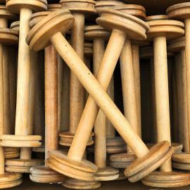 grande bobine en bois atelier tissage soie filature ancien vintage mercerie 1930 32cm