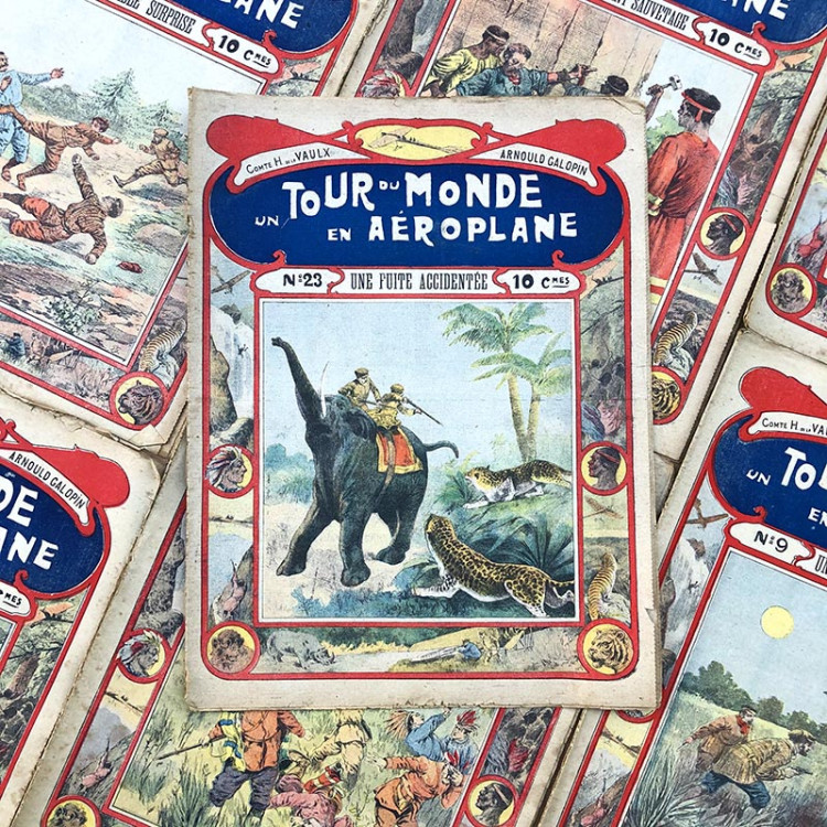 novel paper book un tour du monde en aeroplane arnould galopin compte h de la vaux antique vintage 1919 1920