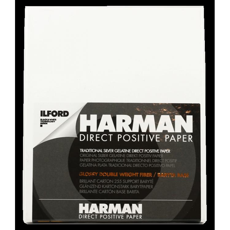 papier photo noir et blanc brillant ilford harman positif 25 pièces feuilles baryté fb agrandisseur tirage 9.96 12.5 4x5
