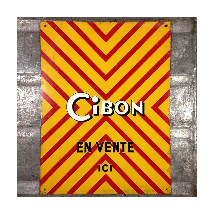 cibon plaque tôle lithographique ancien vintage époque ancienne épicerie 1960