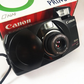 Canon camera analog prima zoom 70f noir 35mm compact autofocus zoom 35mm 70mm 4.2 7.8 point and shoot box