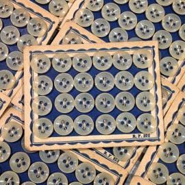 carte boutons transparents 24 10mm ancien vintage mercerie 1950