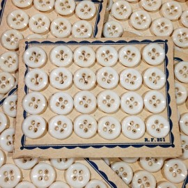 white buttons 24 card 10mm plastic antique vintage mercery 1950