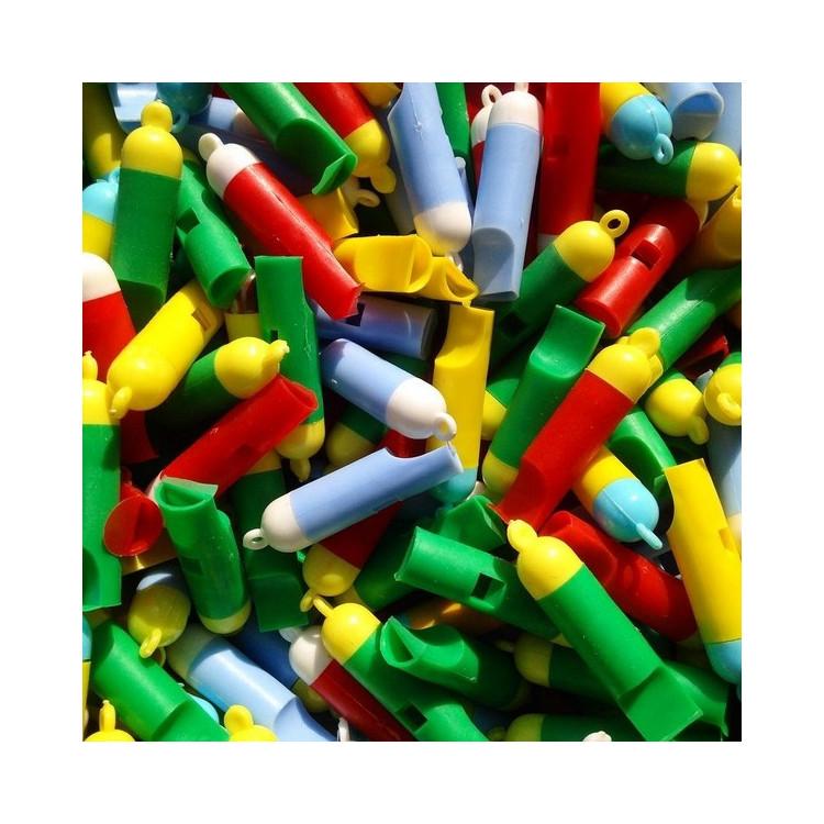 petit sifflet plastique enfant jouet farces et attrapes multi couleur son musique 1970