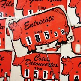 pique-prix prix boucherie ancien vintage viande glacoide plastique 1970