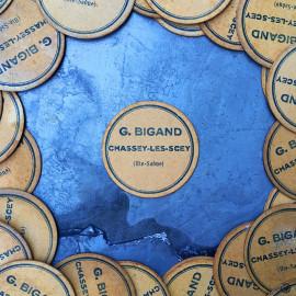 couvercle pot miel ancien vintage carton g bigand apiculteur 1950