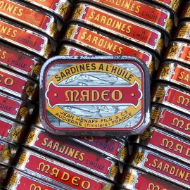 boite sardines conserve huile ancienne jean henaff audierne pouldreuzic finistere 1950 1960 ancien vintage lithographie