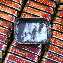 sardine fish tin madeo can vintage antique 1950 french grocery tin metal metallic jean henaff audierne pouldreuzic france