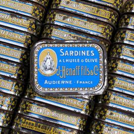 boite sardines conserve huile ancienne jean henaff audierne pouldreuzic 1950 vintage lithographie notre dame de pen hors