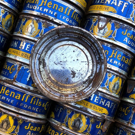 tuna fish round tin notre dame de pen hors can vintage 1950 french grocery metal jean henaff audierne france