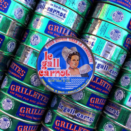 grillettes ham pork tin can le gall carnot vintage 1950 french grocery tin metal finistere france