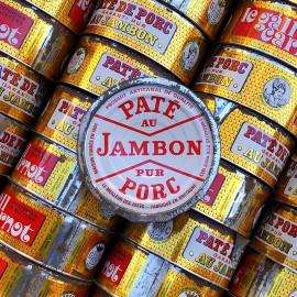 boite conserve paté pur porc jambon le gall carnot epicerie ancienne vintage 1950 vintage lithographie ronde