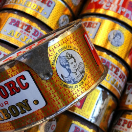 paté ham pork tin can le gall carnot vintage 1950 french grocery tin metal finistere france
