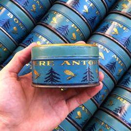 boite la sève de pin bonbons résineux père antoine abeille miel epicerie ancienne vintage 1930 vintage lithographie ronde