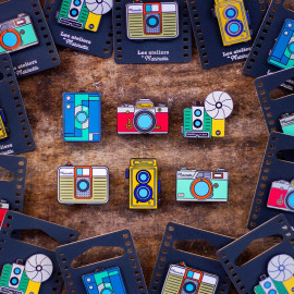 photo pack collection 6 pins camera analog pin badge enamel accessories les ateliers de marinette metal lyon vintage