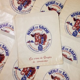 sachet neige savoie gruyère ancien vintage fromage fromagerie rumilly haute-savoie 1950