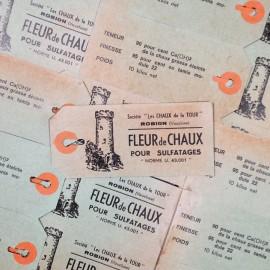 étiquette fleur chaud ancien vintage stock usine 1950 moulin