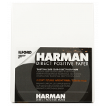 ilford harman fb glossy direct positif photo paper black and white fiber based 25 pieces 4x5 9.96 12.5 cm sheets