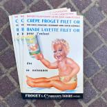 affiche publicitaire froget filet or crêpe couche bébé nouveau né ancien vintage carton cartonnée épicerie 1930