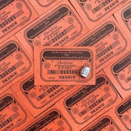 bague et ticket d'immatriculation de l'association colombophile de france 1950 1960