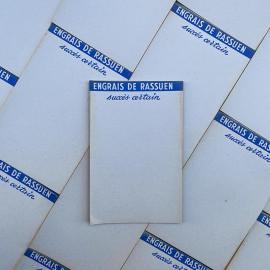 engrais seed rassuen garden bill note scratch pad vintage 1960