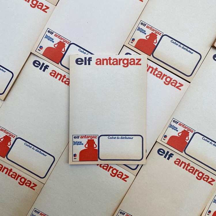 advertising elf antargaz fuel garage bill note scratch pad vintage 1970