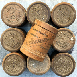 little round cardboard box t bouchard pharmacy chemistry product vintage antique 1900 lyon 12 rue neuve codex
