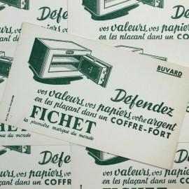 vintage blotting paper advertising antique 1950 1960 safe fichet