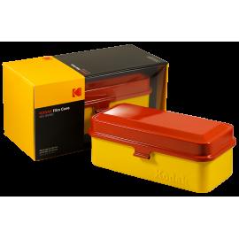 boite de rangement kodak case grosse 120 moyen format grande pellicules 35mm métal métallique vintage argentique jaune et rouge