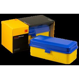 boite de rangement kodak case grosse 120 moyen format grande pellicules 35mm métal métallique vintage argentique jaune et bleu