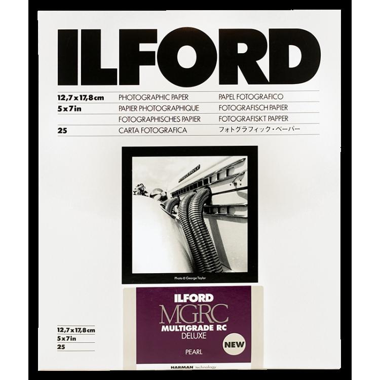 ilford mgrc multigrade perlé 13 18cm 25 feuilles deluxe rc résine couchée tirage papier argentique noir et blanc