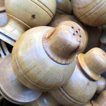 wood jura french salt shaker container vintage antique old turn 1950 1960