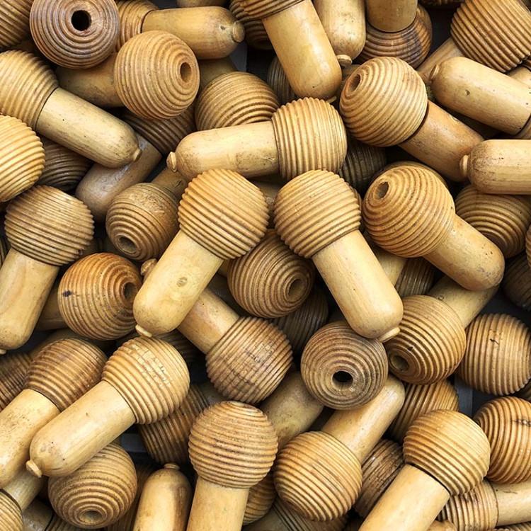 wood jura french wooden acorn tassel glans vintage antique old turn 1950 1960 curtain end