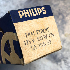 ampoule projecteur philips ancien vintage électricité cinéma film etroit 125v 300w 15 S 32 1950
