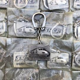 porte clefs ancien sncf tgv 001 turbotrain métal métallique train locomotive publicitaire vintage 1972