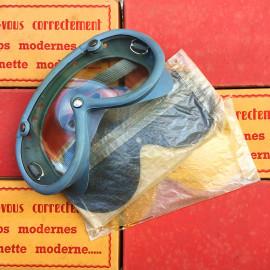 biker moto motobike glasses slalom 45 rubber plastic ski skier cycle dust sunlight antique vintage 1950 1960