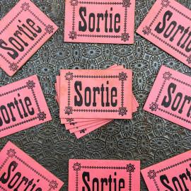 exit sortie label pink ticket ball danse 1900 castle france