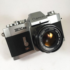 canon EXEE reflex analog 135 35mm 50mm 1.8 EX chrome silver