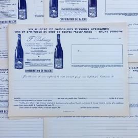 invoice wine muscat french antique old vintage 1930 sheet paper palauzi samos