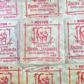 sachet fil pêche racine japonaise kostos 1930 nylon poisson ancien vintage racine emballage