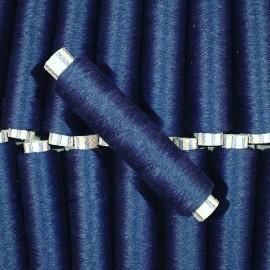 bleu foncé bobine fil cotton ancien vintage mercerie 1990