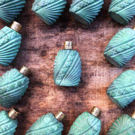 glass little perfume bottle art deco decor green thick glass metal cap thick antique old vintage 1930