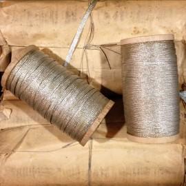 Silver metal braided wire bobbin antique vintage haberdashery military 1920