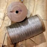 bobine fil tressé métallique argent ancien vintage mercerie militaire 1920