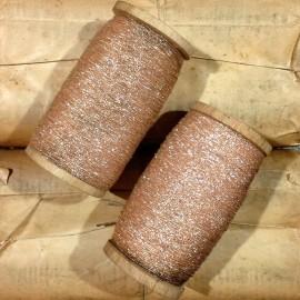 bobine coton perlé baillonnette grippée saumon brillant ancien vintage mercerie militaire 1920