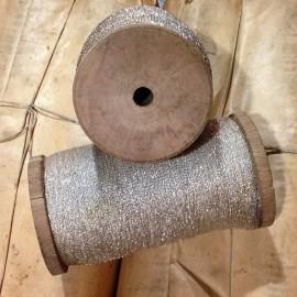 bobine coton perlé argent fil ancien vintage mercerie militaire 1920